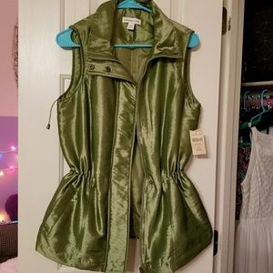 Coldwater Creek Shiny Green Anorak Vest
